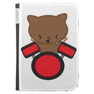 Kawaii Drummer Cat Caseable Case Kindle Folio Case
