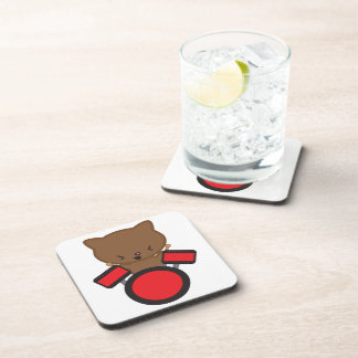 Kawaii Drummer Cat Cork Coaster