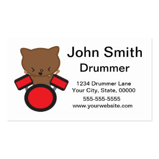 Kawaii Drummer Cat Customizable Business Card