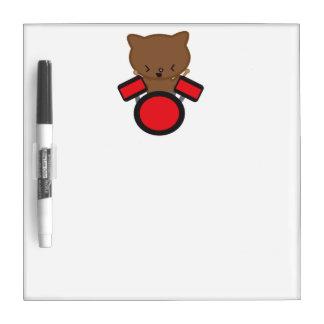 Kawaii Drummer Cat Dry Erase Boards