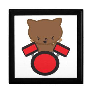 Kawaii Drummer Cat giftbox Trinket Box
