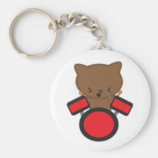 Kawaii Drummer Cat Keychain