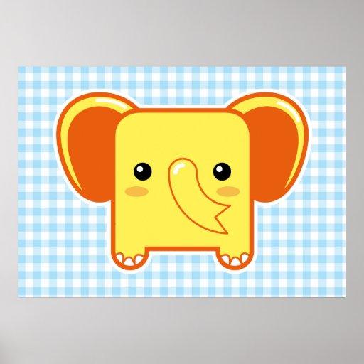Kawaii elephant posters