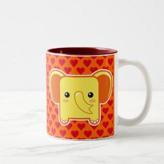 Kawaii elephant Two-Tone coffee mug