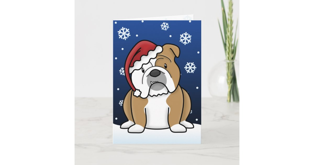 Kawaii English Bulldog Christmas Card | Zazzle.com