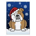 Kawaii English Bulldog Christmas Card