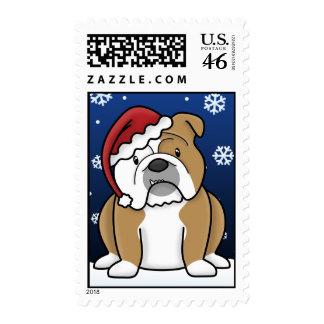 Kawaii English Bulldog Christmas Postage Stamps