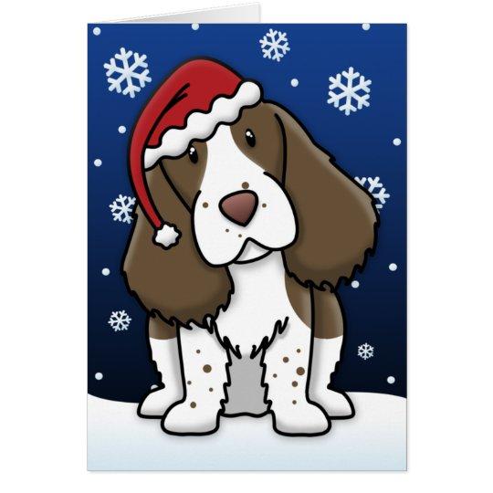 Kawaii English Springer Spaniel Christmas Card