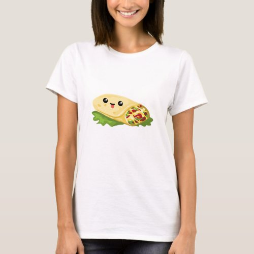 Kawaii Face Burrito Shirt For Mexican Food Lovers