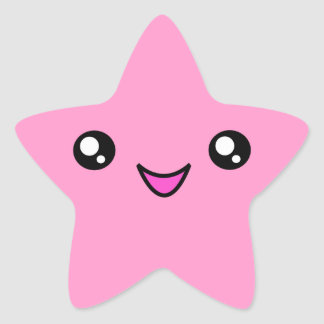 Kawaii Face Pink Star Sticker