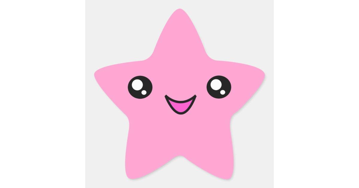 Kawaii Face Pink Star Sticker Zazzle