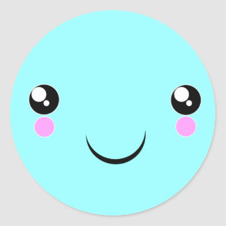 Kawaii Face t-shirts and more Classic Round Sticker