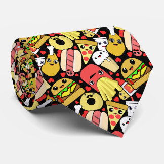 Kawaii Fast Food Characters Pattern Tie