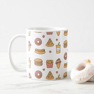 Kawaii Fast Food Doodles Pattern Coffee Mug