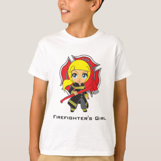 Kawaii Firefighter Girl - Customizable T-Shirt