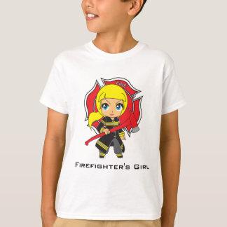 Kawaii Firefighter Girl - Customizable T-Shirt