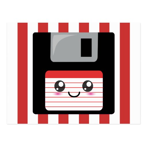 Kawaii Floppy Disk Postcard