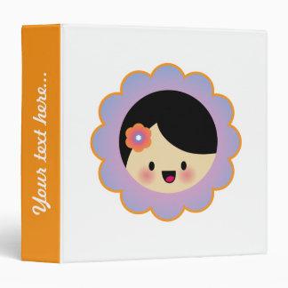 Kawaii flower girl 3 ring binder