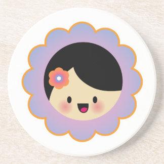 Kawaii flower girl drink coasters