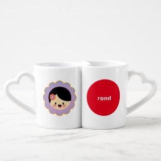 Kawaii flower girl coffee mug set
