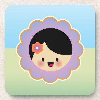Kawaii flower girl coaster