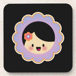 Kawaii flower girl drink coaster