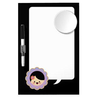 Kawaii flower girl dry erase board with mirror