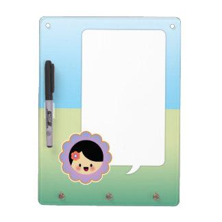 Kawaii flower girl dry erase whiteboards