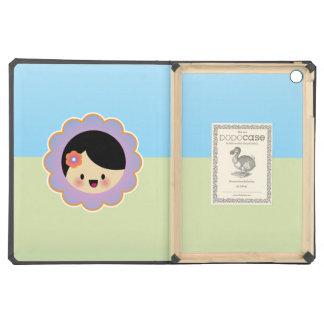 Kawaii flower girl iPad air cover