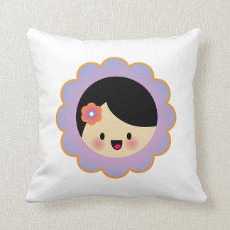 Kawaii flower girl throw pillow