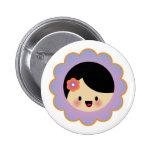Kawaii flower girl pinback button