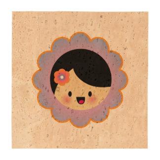 Kawaii flower girl beverage coasters