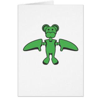 Kawaii Flying Monkey Robot Card