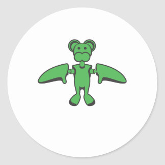 Kawaii Flying Monkey Robot Classic Round Sticker