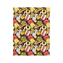 Kawaii Food Characters Pattern Fleece Blanket