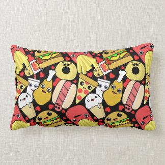 Kawaii Food Characters Pattern Lumbar Pillow