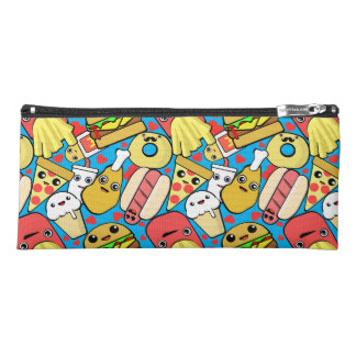 Kawaii Food Characters Patterned Pencil Case