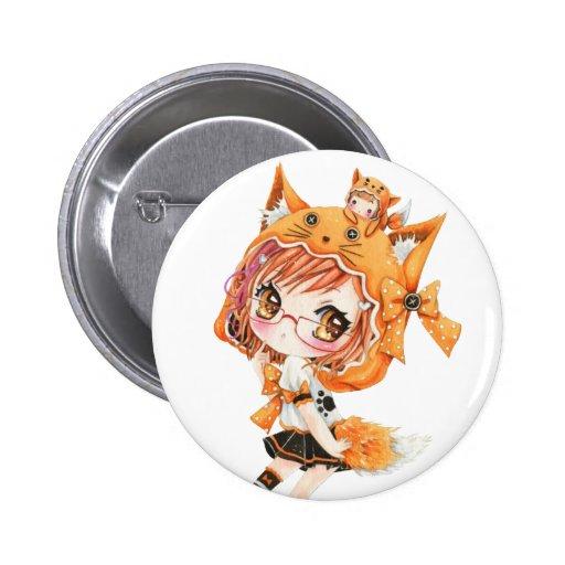 Kawaii fox girl buttons