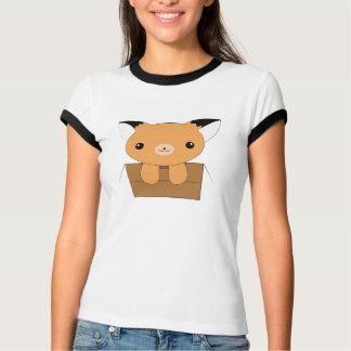 Kawaii fox in a box ringer t-shirt