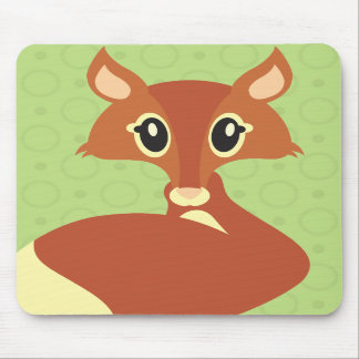 Kawaii Fox on Green Background Mouse Pad