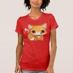 Kawaii fox with cute icecream tee shirt