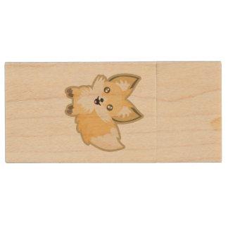 Kawaii Fox Wood Flash Drive