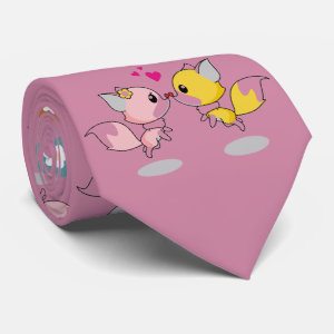 Kawaii Foxes and Flowers Cute Pattern Tie