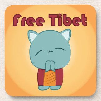 Kawaii Free Tibet Kitty coasters