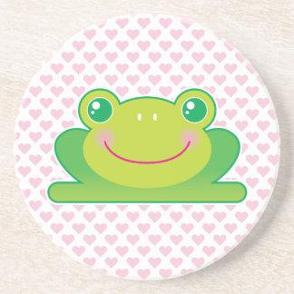 Kawaii frog beverage coasters