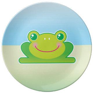 Kawaii frog dinner plate