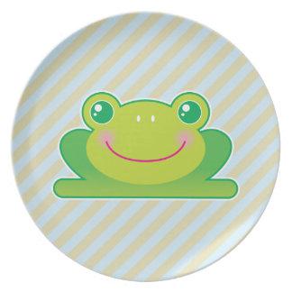 Kawaii frog melamine plate