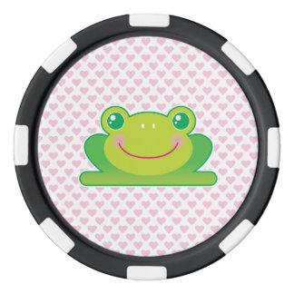 Kawaii frog poker chip set