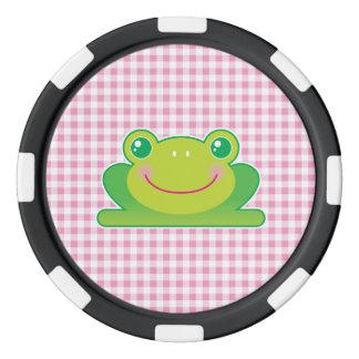 Kawaii frog set of poker chips