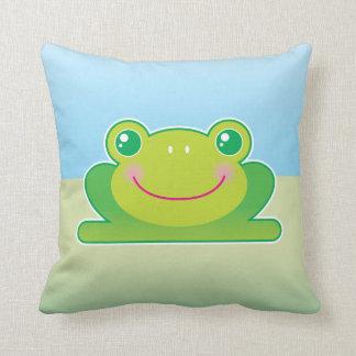 Kawaii frog throw pillow